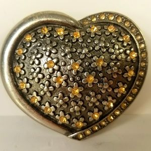 Belt Buckle, Heart, Floral, Silver Tone, Citron